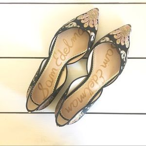 Sam Edelman Black Floral Ballet Flats Size 10